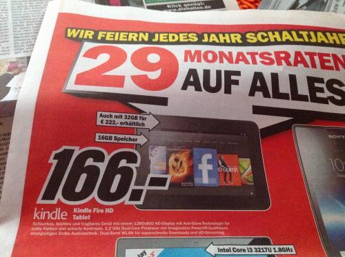 (Lokal) Kindle Fire HD 16GB und 32GB@ MM Erfurt