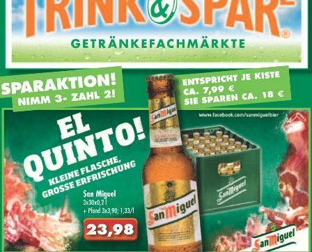 Trink-und-Spare: San Miguel, Nimm 3, zahl 2 (somit 1,33€/l) 30x 0,2l, Kiste je 11,99€