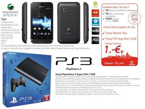 Sony Xperia Tipo + Sony Playstation 3 Super Slim für 1,-€*
