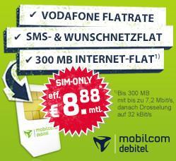 [PAUL-DIREKT] Talkline Talk Special Handyvertrag - Sprachflat ins Vodafone-Netz, Flat in Wahl-Netz, SMS-Flat (3000), Internet-Flat (300 MB) für 8,88 EUR / Monat.