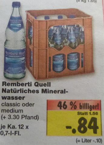 Remberti Quell Mineralwasser Kasten 12x0,7L für € 0,84 + Pfand bei Kaufland (Hamburg?)