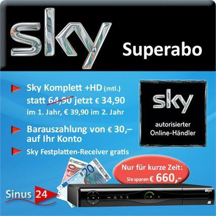 Sky-Komplett für 34,90€ im ersten und 39,90€ im zweiten Jahr