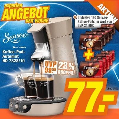 Senseo HD 7828/10 inkl. 160 Kaffee-Pads für 77.-€ bei expert