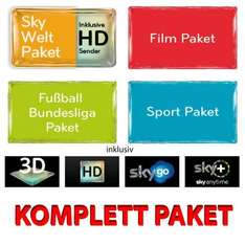 Sky Komplett 12 Mon. Abo inkl. HD + SkyGo + SkyPLUS HD Festplattenreceiver + Kein Aktivierungsgebühr