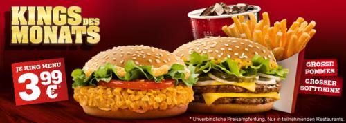 [King(s) des Monats]Crispy Chicken oder Big King+große Pommes+großer Softdrink für 3,99€ / neue Probieraktion: 6xKing Nuggets für 1,99€ / neue Steakhouse Promotion - ab Dienstag (26.02.) bei Burger King®