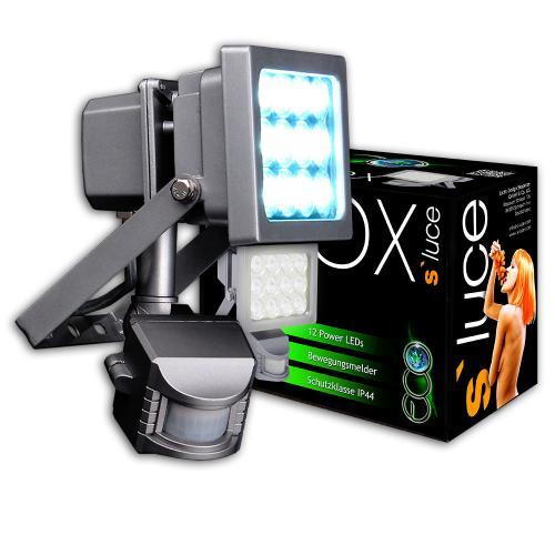 s`luce Profi Power LED Strahler 12W +Sensor, Außen Fluter Flutlicht Scheinwerfer