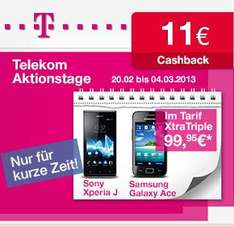 T-mobile Aktionstage Samsung Galaxy Ace,  Sony Experia J