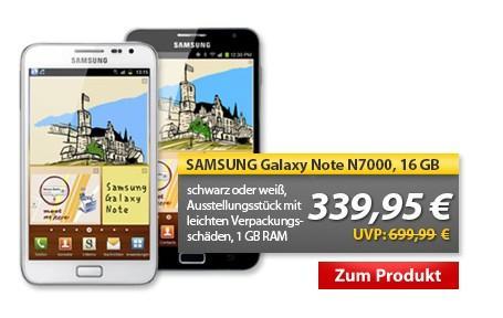 Samsung Galaxy Note N7000 16GB Schwarz oder Weiß (339,95 € - vk-frei)
