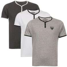 ( TheHut )  Ringspun Men's 3-Pack Blade Grandad T-Shirts - Charcoal/White/Grey