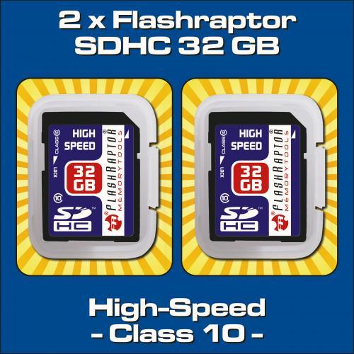 2 x SDHC 32 GB Class 10