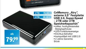 [offline] Airy USB3.0 3TB für 99,99 EUR (2TB 79,99) bei Netto (Dansk Supermarked)
