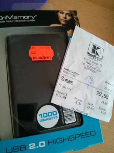 """(lokal - Kaufland Witten) CnMemory Airy 2.5"""" schwarz 1000GB, USB 2.0 (69076) für nur 29,99 Euro"""
