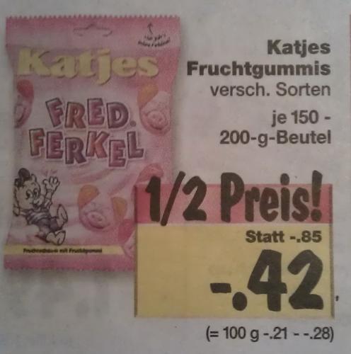 [Lokal Hamburg] Kaufland Katjes Fruchtgummis - Verschiedene Sorten (z.b. Fred Ferkel) je 150/200g Beutel