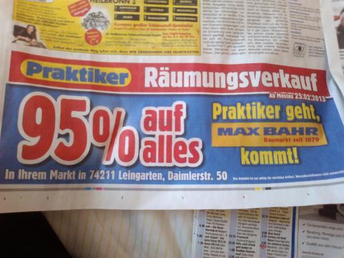 95 % bei PRAKTIKER! (lokal 74211 Leingarten)