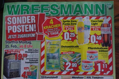 [Lokal] Sprite Zero, Fanta Zero 1,25 L. f. 0,25 € bzw. Coca Cola Light 1,5 L. f. 0,49 € - Wreesmann in 26842 Ostrhauderfehn