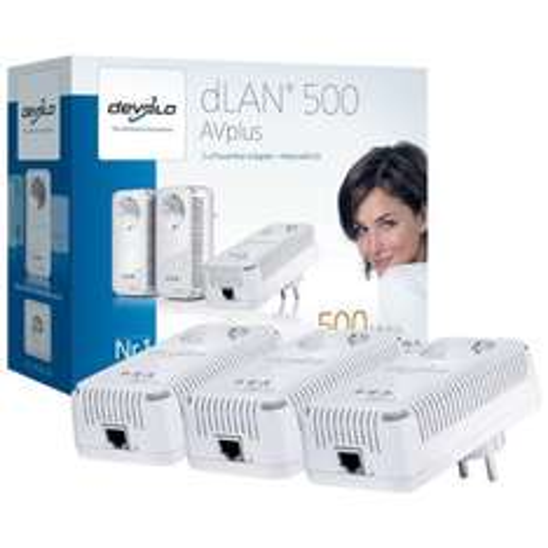 (Blitzangebot) Devolo dLAN 500 AVplus Netzwerk Kit (3x HomePlug AV-Adapter, Netzwerk aus der Steckdose)