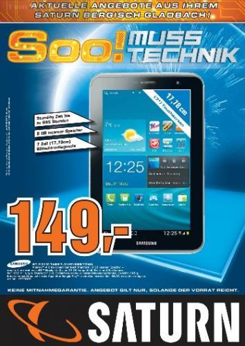 [Lokal Saturn Bergisch Gladbach] Samsung Galaxy Tab 2 7.0 8GB WiFi GT-P3110 Titan / Saturn online € 169