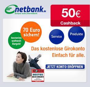 70€ Startguthaben + 50€ Cashback von Qipu für ein kostenloses Girokonto bei der netbank