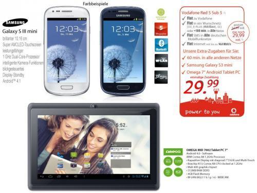 S3 Mini und OMEGA 7'Tablet PC WIFI mit Android für Vodafone DSL Kunden nur 19,99€ mtl.