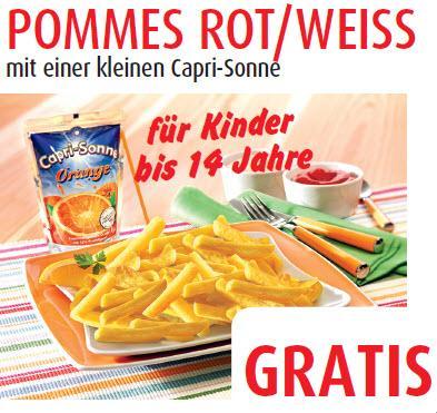 [Porta] Pommes Rot Weiss mit einer Caprisonne für Kinder bis 14 Jahre gratis und 2 weitere Angebote