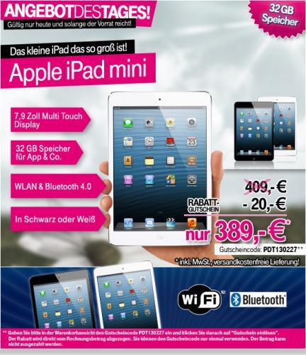 Apple iPad mini Wi-Fi 32GB schwarz oder weiß für 389€ inkl. Versand @T-Online.de (Tagesangebot)