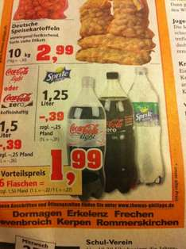 [evtl. lokal] 1,5l Coca Cola zero / light bzw. 1,25l Sprite zero für 0,39€ bei Thomas Phillips