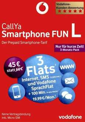 [Prepaid: Vodafone CallYa] Smartphone FUN Packs (S-M-L) für 19,90 € statt 45,- € + Versandkostenfrei
