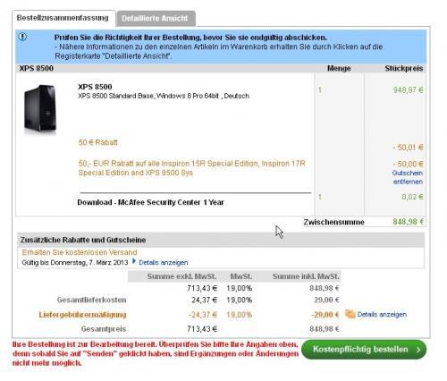 Dell XPS 8500 Desktop für 768,98 EUR i7-3770, 8GB, 2TB HB, GTX660.....da Fehler mit Win8 Pro