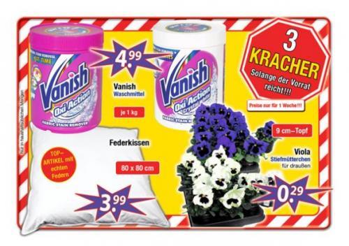 [CenterShop] Vanish OxiAction oder  Crystal White je 1Kg 4,99€  /  Federkissen 80x80 3,99€
