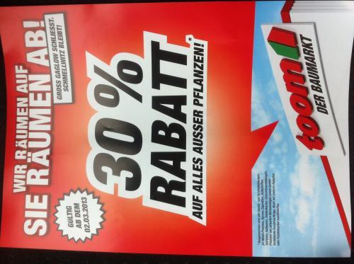 Toom Baumarkt 30% auf alles* in Gross Gaglow, Cottbus