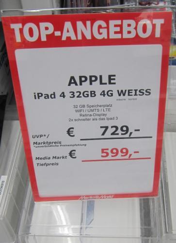 LOKAL MediaMarkt Essen - Apple iPad 4 32GB WiFi + 4G weiß für 599,-