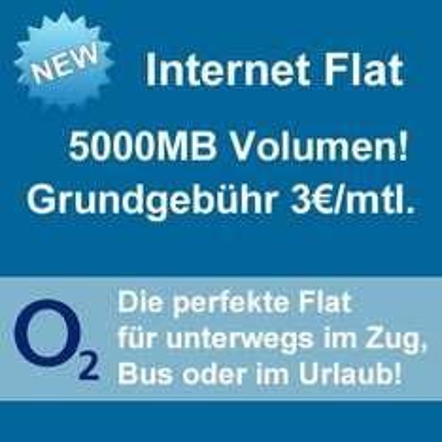 Mobiles Internet o2 5GB für 3,00€ monatlich