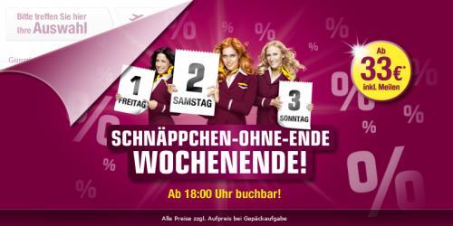 Germanwings-Flüge ab 33 Euro/Strecke ab 18 Uhr bis Sonntag