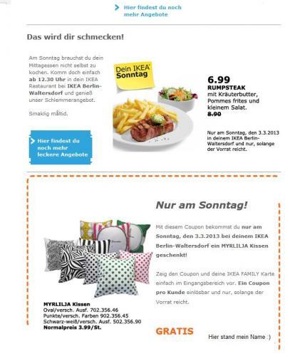 [Lokal Berlin-Waltersdorf] Ikea Coupon für ein kostenloses Myrlilja-Kissen (Ikea-Familie Mitglieder)