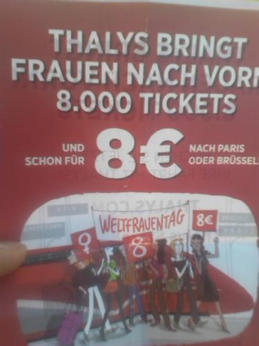 Mit dem Thalys nach Paris oder Brüssel für 8€ nur für Frauen!