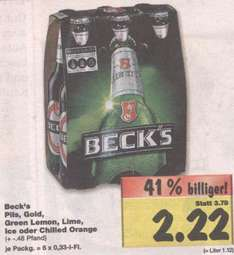 [lokal HH Kaufland] Becks Sixpack 2,22€, Wagner Steinofen-Pizza 1,49€, Red Bull Sixpack 4,44€