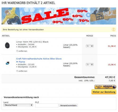 Fahrradhelm + Handschuhe (Marke Lima + Craft) für 47,92 € inkl. Versand