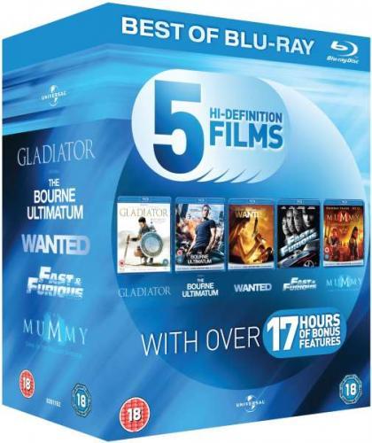 Blu-ray Action Starter Pack mit 5 Filmen (Gladiator, Bourne Ultimatum, Wanted, Fast & Furious 4, Die Mumie) inkl. deutscher Tonspur und Karate Kid mit OT für ca. 12,63 Euro @ Hut.uk