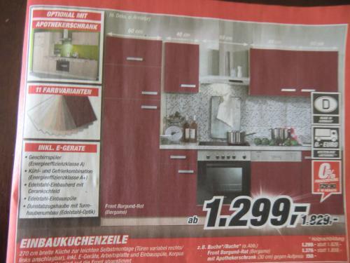 Einbauküche 270 cm mit Geschirrspüler, Herd inkl. Ceranfeld, Kühl-/Gefrierkombi, Spüle  & Dunstabzugshaube --> TOOM
