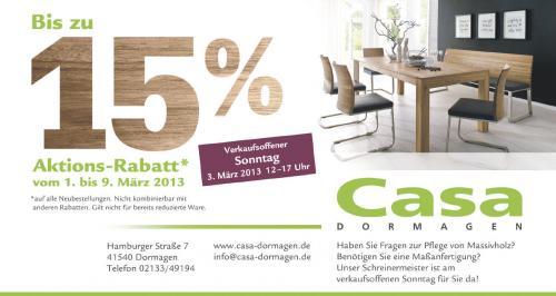 Bis zu 15% Rabatt auf Massivholzmöbel bei Neubestellung