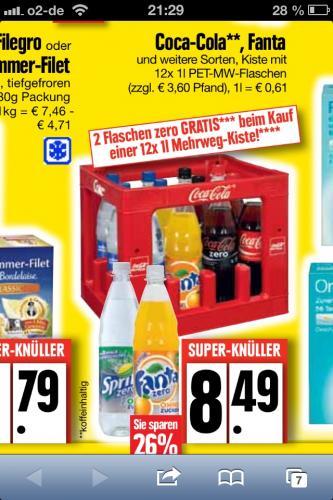 Edeka-Nord: Mehrweg-Kiste Coca-Cola, Fanta und Co. plus 2 Flaschen Zero für 8,49 Euro