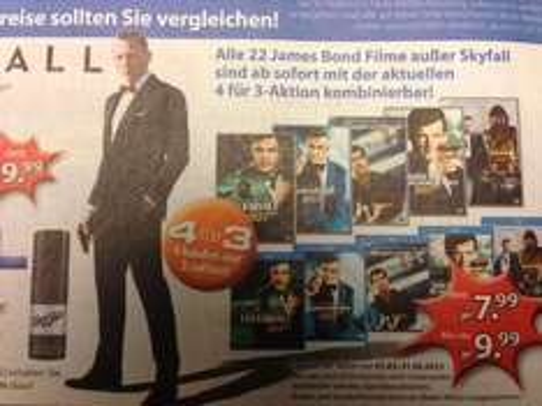 Alle 22 James Bond Blu Rays (außer Skyfall) für je 7,50 bei Müller (Aktion 4 für 3)