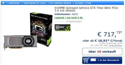 Gainward GeForce GTX Titan 6144 MB - im Mindstar für 717,73 EUR!