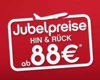AirBerlin Jubelpreise Hin/Rückflug ab 88€