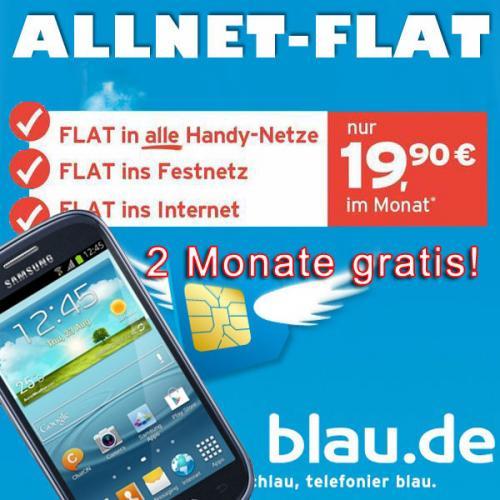 Samsung Galaxy S3 Mini i8190 mit blau.de Allnet Flat + Internetflat für 19,90/Monat