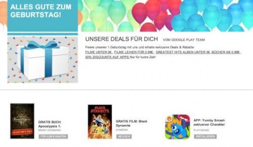 Play Store Happy Birthday, ein paar Angebote aus allen Bereichen.