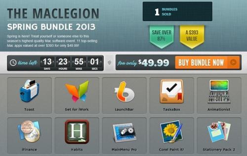 Mac Legion Spring Bundle 2013 - Knüller-Bundle mit 10 Apps inkl. Toast 11 Titanium für nur 49.99$ bzw. 38,35€
