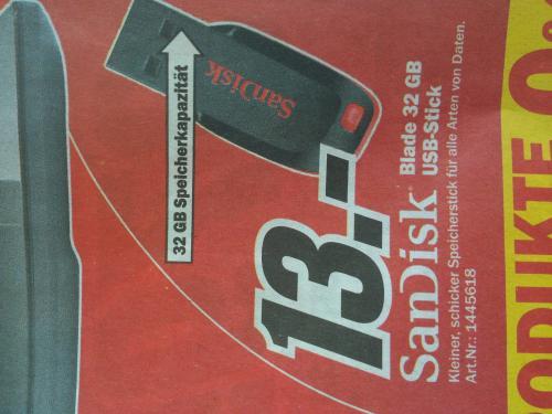 [Lokal MediaMarkt Landau / evtl. Bundesweit] USB Stick Sandisk Cruzer Blade 32GB für 13€