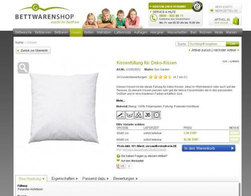 Bettwaren-Shop einige günstige Artikel durch Qipu unter anderem Deko-Kissen für 1,17€ einige Möve Artikel lohnen sich