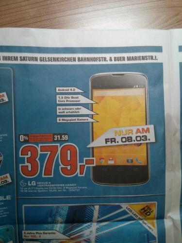(Lokal - Gelsenkirchen) LG Nexus 4 weiß 16 GB